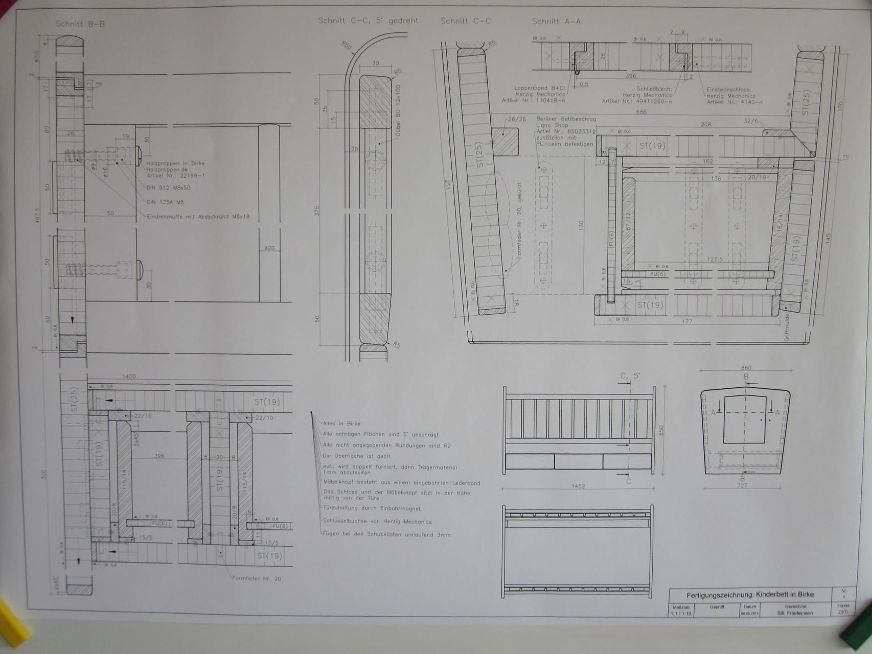 Fertigungszeichnung eines Gesellenstückes (Kinderbett); CAD
