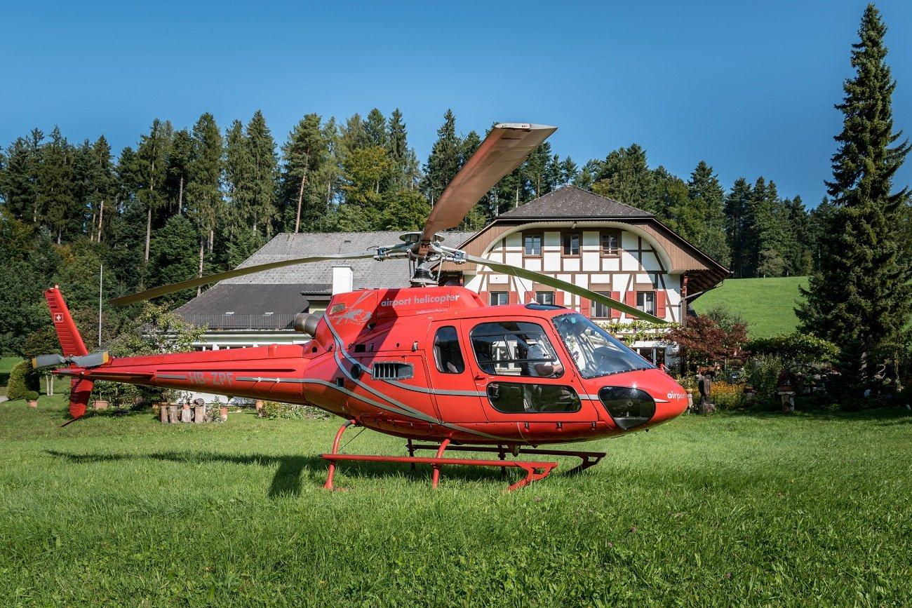 AS 350 B2 Ecureuil, HB-ZPF, Helikopterflug, Bürgisweyerbad, Burezvieri, Luzern-Beromünster