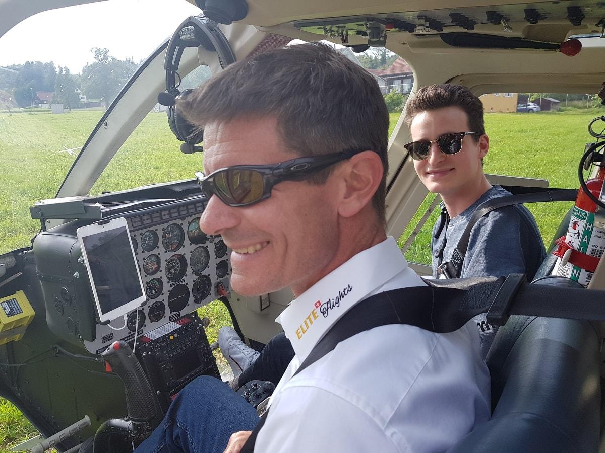 Elite Flights, Bell 206 Jet Ranger, HB-XXO, Schnupperflug, Cockpit View, Helikopter-Flotte Luzern-Beromünster, Grenchen, Basel