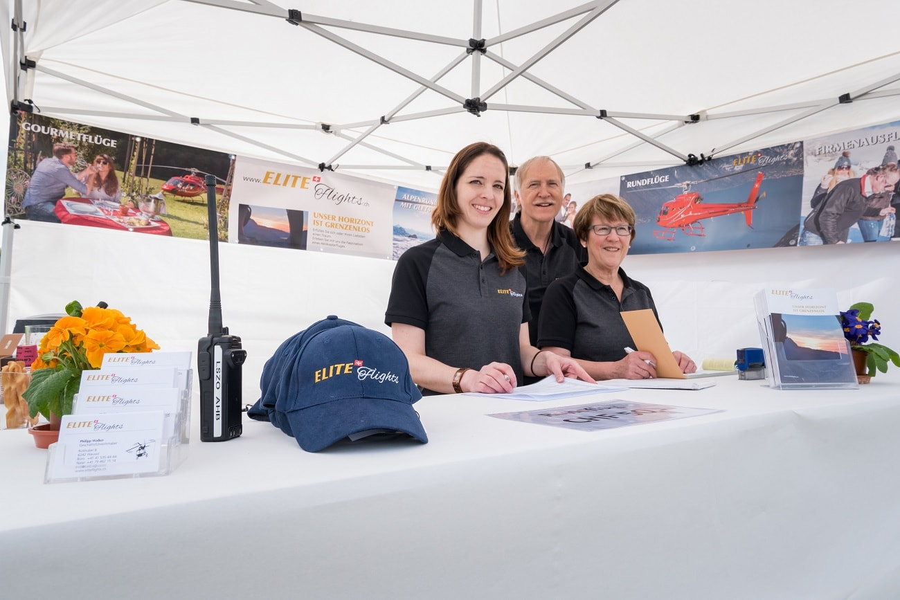 Rundflugtage Wängi Aktiv 2018, Verkaufsstand, Personal