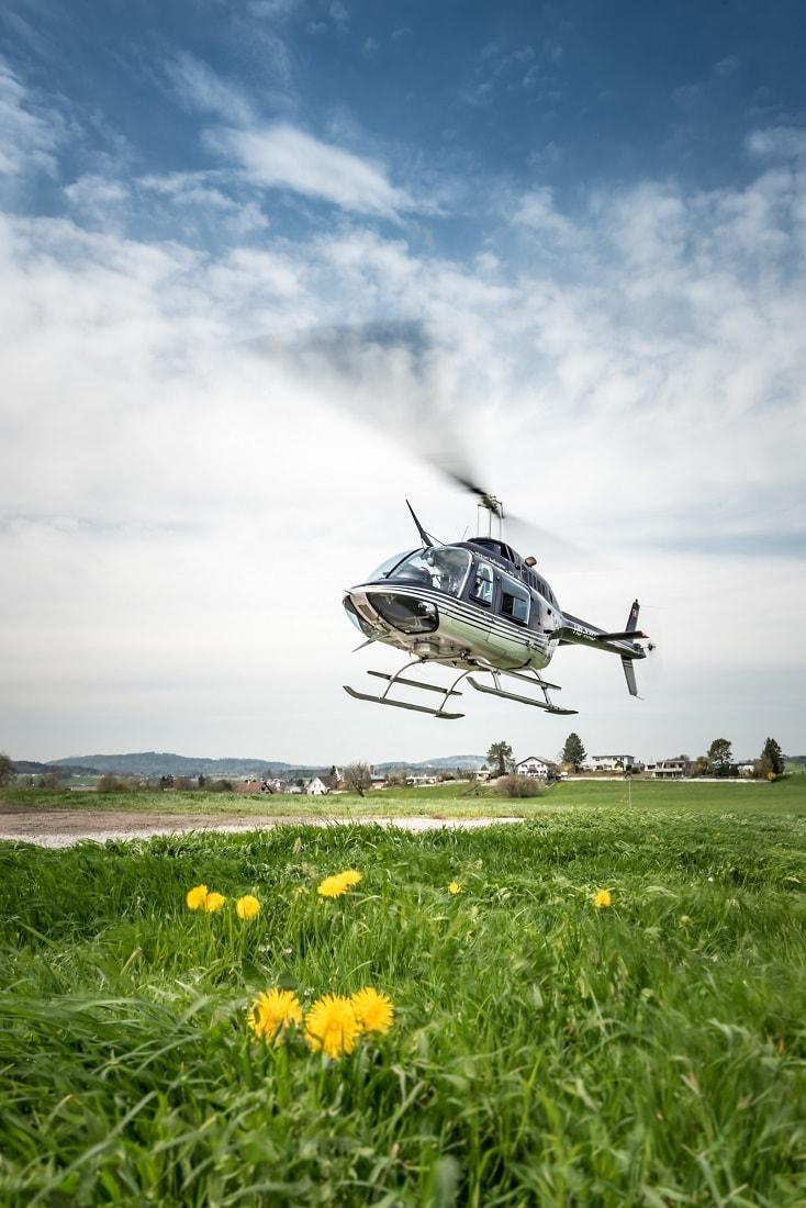 Bell 206 Jet Ranger, HB-XXO, Rundflugtage Wängi Aktiv 2018, Departure