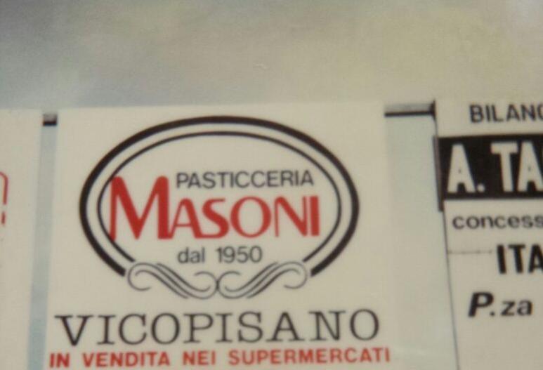 prima insegna pubblicitaria in strada della pasticceria masoni