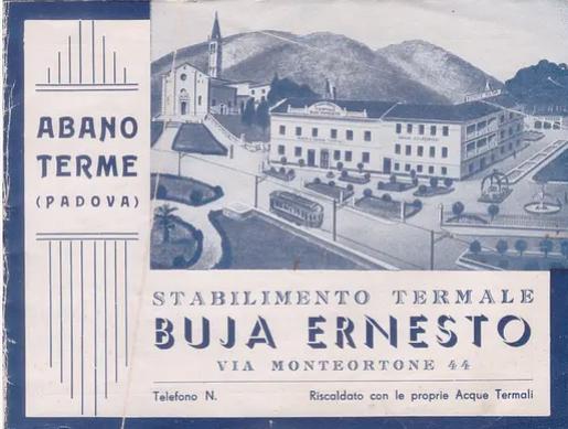 Cartolina del 1940 che ritrae il Buja Monteortone a fianco del Santuario