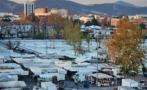 Mercato Abano, con la neve!