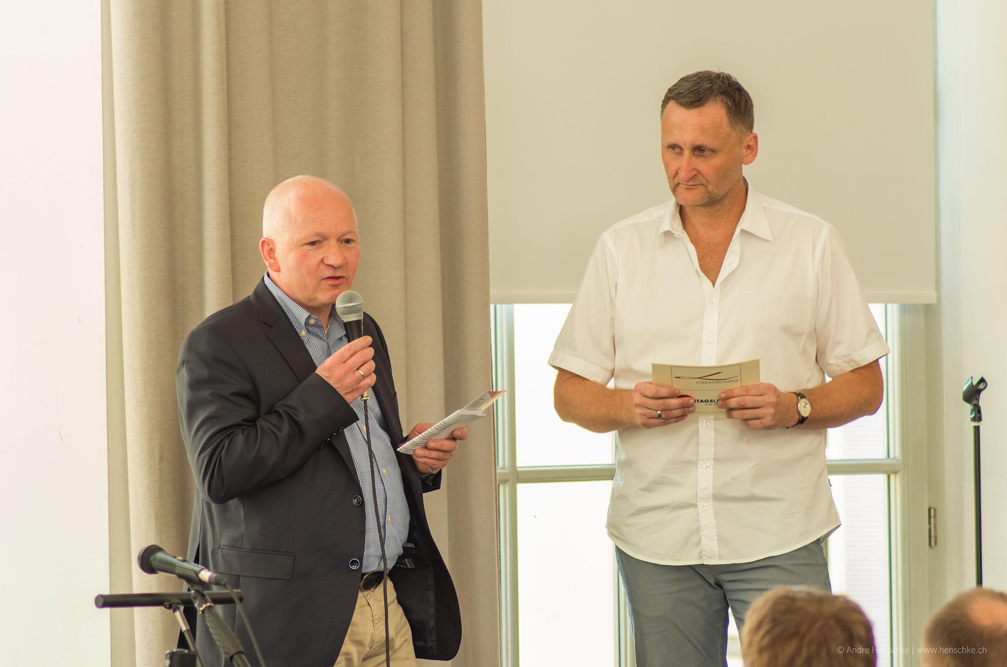 Jürgen Wolf, Chef des Dresdner Citymanagement e.V. (li.) und Veranstalter Dirk Kohl vom Weltbuch Verlag
