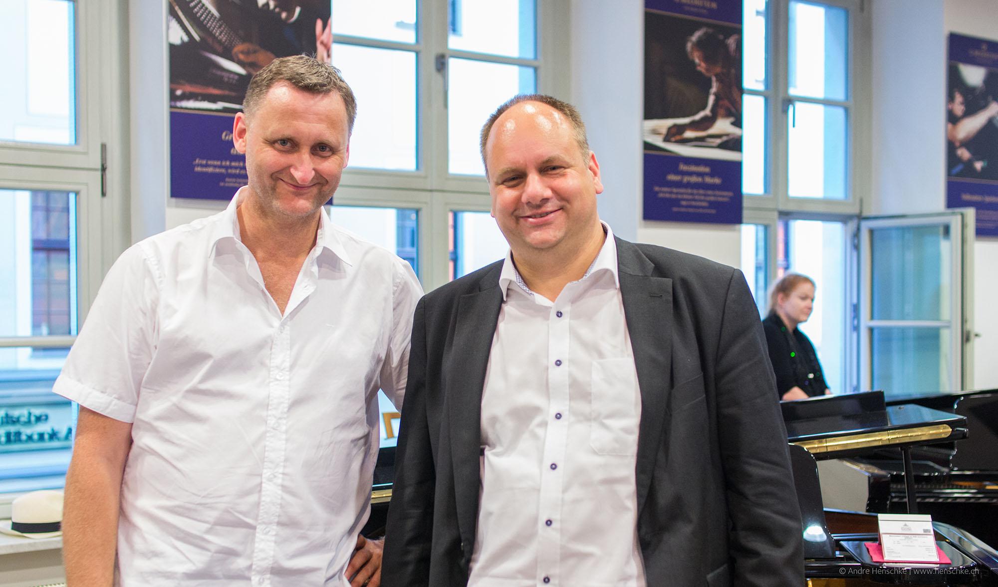 Initiator der Montagslesung, Dirk Kohl (Weltbuch, li.) und Dirk Hilbert, Dresdner Oberbürgermeister