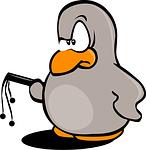 Pinguin mit Peitsche