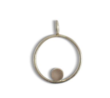 Ting Goods handmade circle stone necklace rose quartz