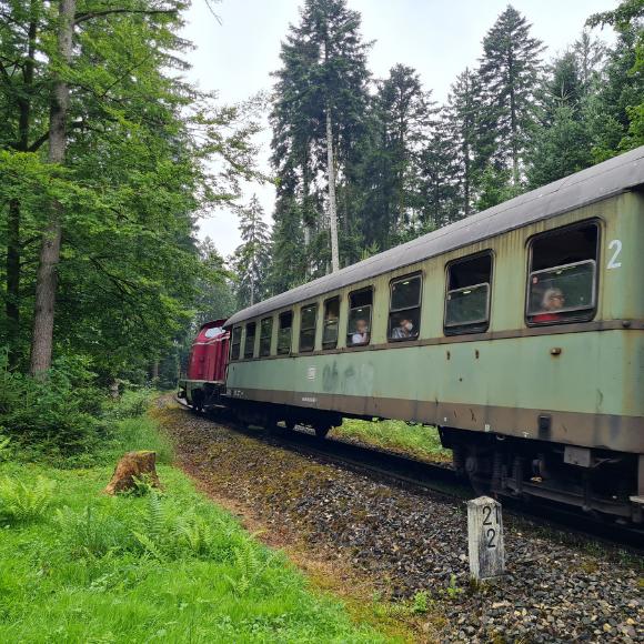 Mit der Schwäbischen Waldbahn von Rudersberg nach Welzheim - Und auf dem Bahnerlebnispfad zurück gewandert - HVP175