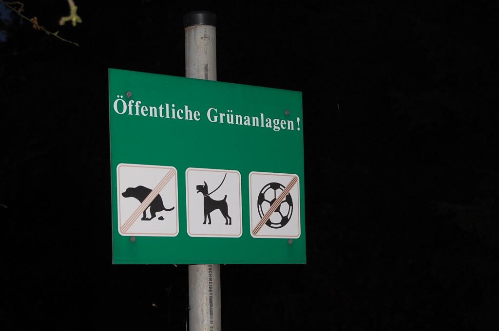 Hunde - an der Leine natürlich - sind erlaubt, Fußbälle auch. Haben beides nicht erspäht. Ja, wir waren eigentlich die einzigen Gäste.