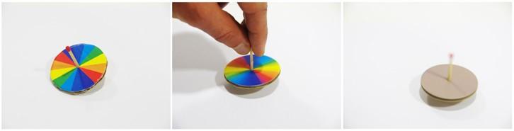 Disque de Newton, toupie, mélange des couleurs de l'arc-en-ciel