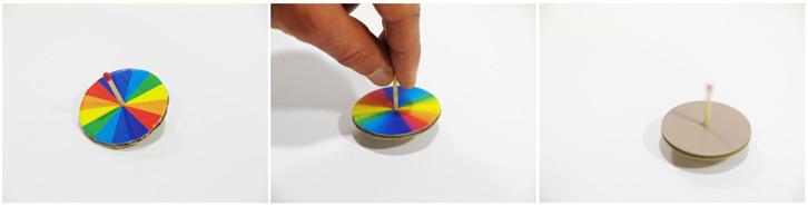 mélange de couleurs toupie disque de Newton