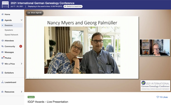 IGGP-Ambassador-Award an Nancy Myers und Georg Palmüller vom Ahnenforscher Stammtisch Unna