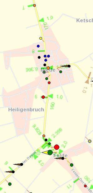 L 331 Unfallgeschehen 2011 Felder Dorfstraße und Bremer Str. (zwischen km 7 und 11)