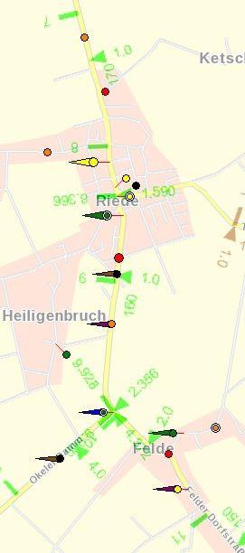 L 331 Unfallgeschehen 2014 Felder Dorfstraße und Bremer Str. (zwischen km 7 und 11)