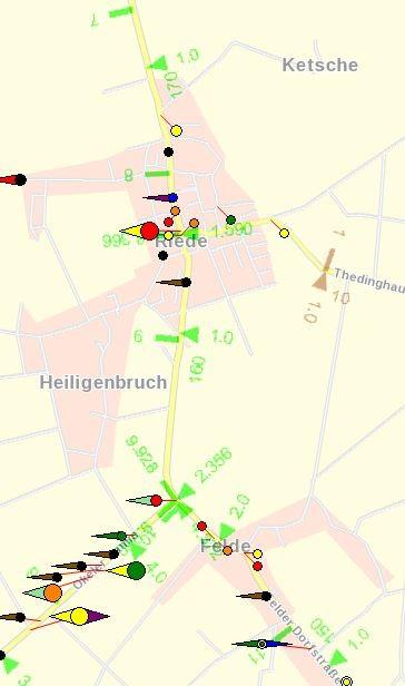 L 331 Unfallgeschehen 2012 Felder Dorfstraße und Bremer Str. (zwischen km 7 und 11)