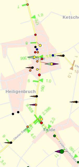 L 331 Unfallgeschehen 2013 Felder Dorfstraße und Bremer Str. (zwischen km 7 und 11)