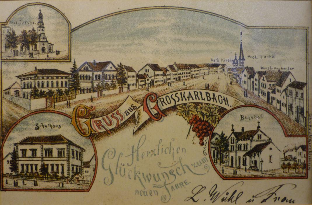 Lithographische Ansichtskarte von Großkarlbach 1890