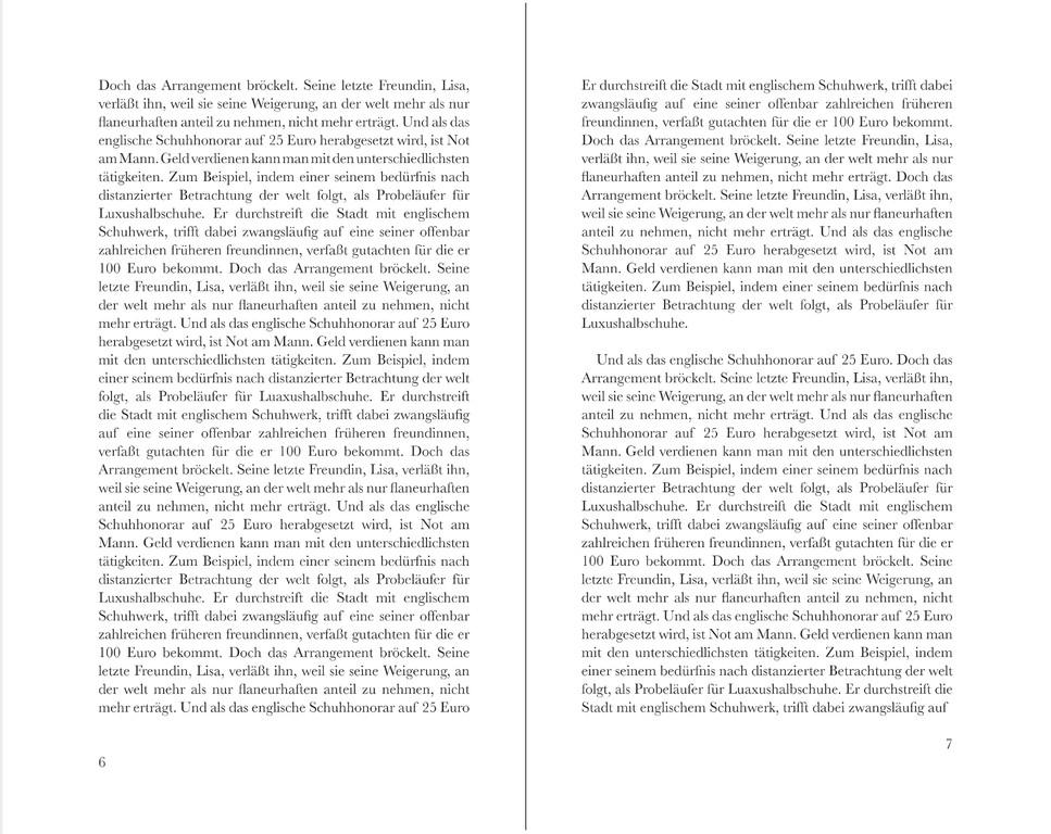 frau jenson, Doppelseite, Text