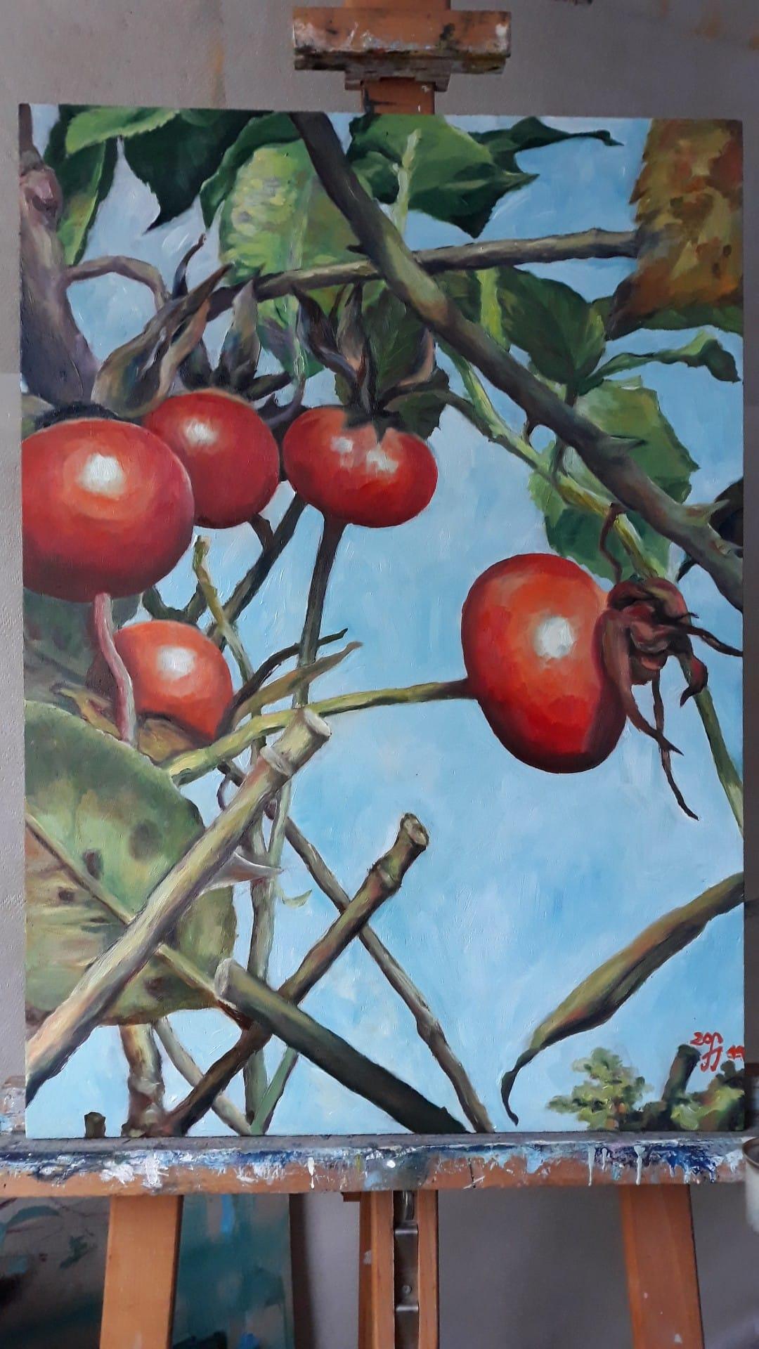 Hagebutten, frau jenson 2019, Ölmalerei auf Holz