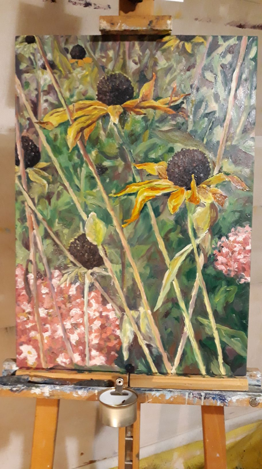 Sonnenhüte, frau jenson 2019, Ölmalerei auf Holz