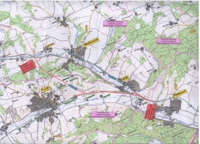 Plan für die Ortsumgehung Weihmichl - Arth