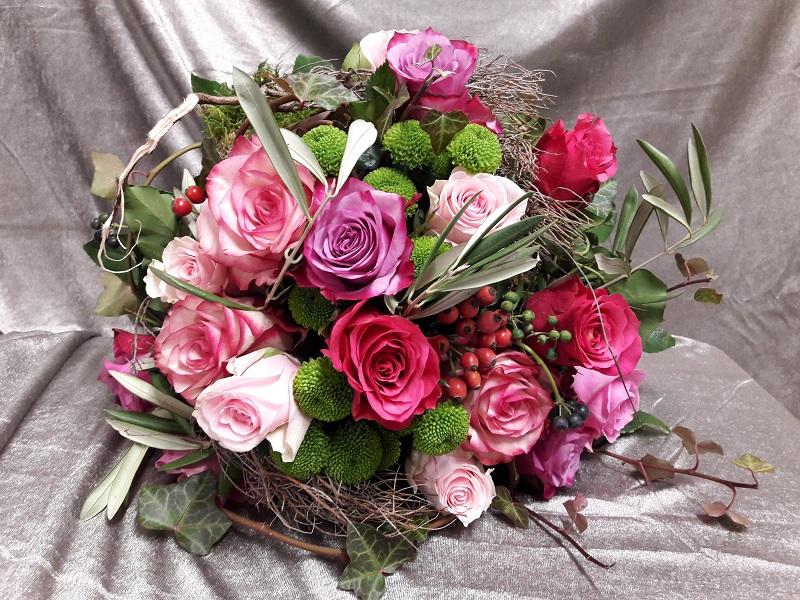 Sommerlicherstrauß, Rosenstrauß, pinke Rosen,