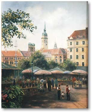 Viktualienmarkt Munich, oil / canvas, 18 x 24 cm.
