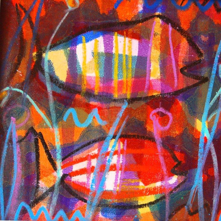 """spontan, spritzig, sprottig"", Monotypie, 30x30 cm"