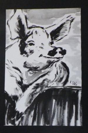Schwein, Aquarell, 47 x 31 cm