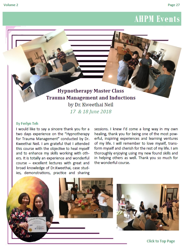 Trauma Management and Inductions, Hypnotherapy Master Class