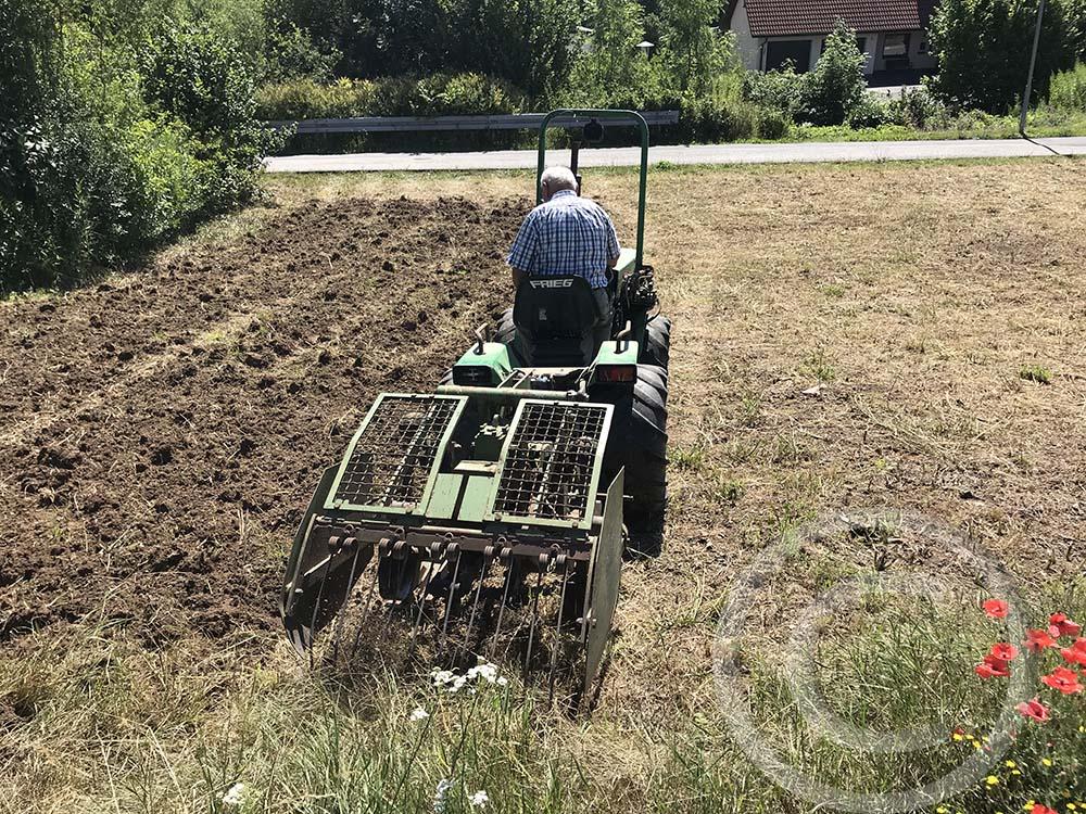 1. Bodenbearbeitung: Der Boden wurde nach der Mahd gegrubbert, um die alte Grasnarbe und Wurzelunkräuter zu zerstören (18.07.2020)