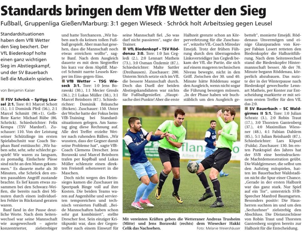 Aus der Oberhessischen Presse vom 12.03.2018