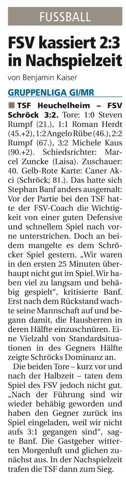 Die Torschützen bei unserem FSV waren Marcel Schmitt und Dominik Pfeil.