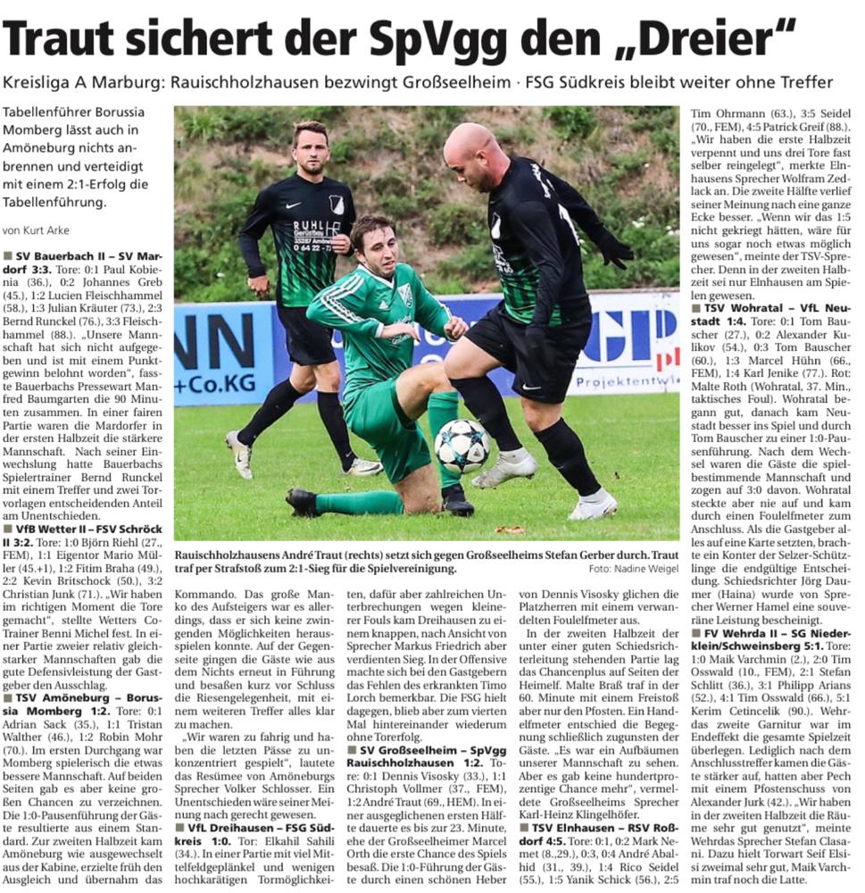 Zum Spieltag in der Kreisliga A- Marburg