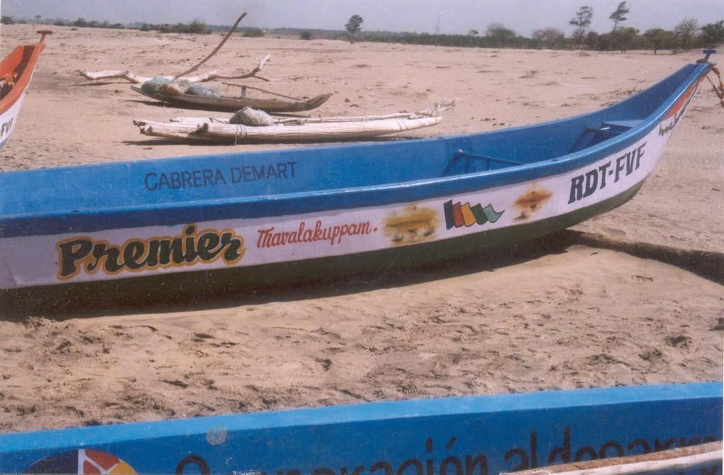 Barca de pesca amb el nom de Cabrera de Mar per damnificats del Tsunami a la Índia
