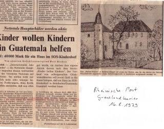 Zeitungsbericht über ein Projekt für SOS Kinderdörfer, bei dem ich mit meinen Schülern in der Gemeinde unterwegs war um dort besondere Gebäude zu zeichnen. Die Zeichnungen wurden dann als Karten gedruckt und verkauft.
