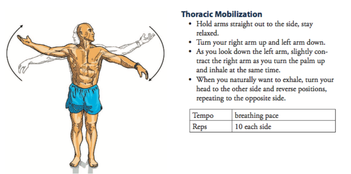A picture illustrating how to perform thoracic mobilisation