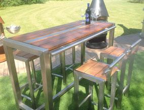 Hochwertige Gartenmöbel aus feinstem Kambala-Holz und Edelstahl