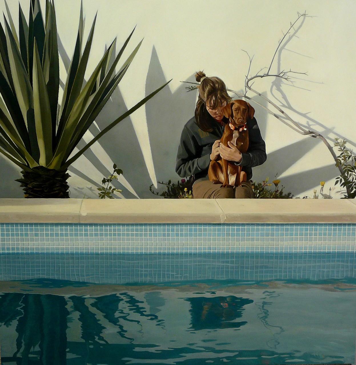 En la piscina, 100x100 cm