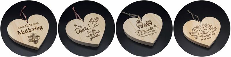 Zirbenholz Herzen mit Laser Gravur, Sprüche und Namen nach Wunsch