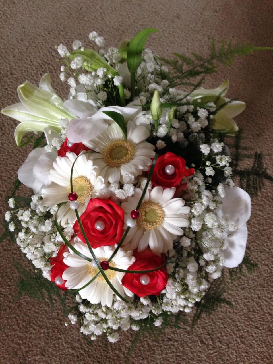Bruidsboeket wit/rood