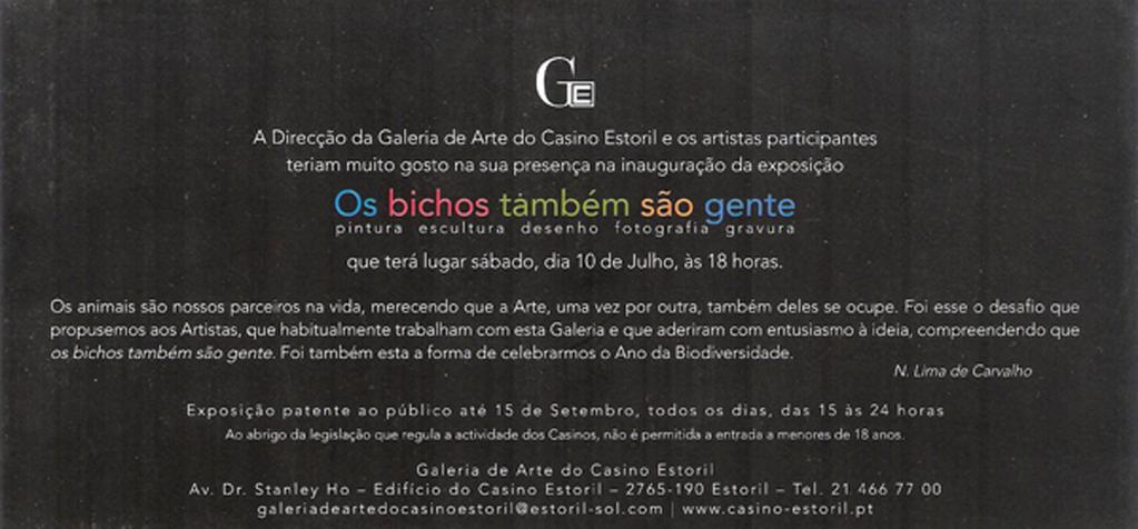 Convite Exposição do Casino do Estoril