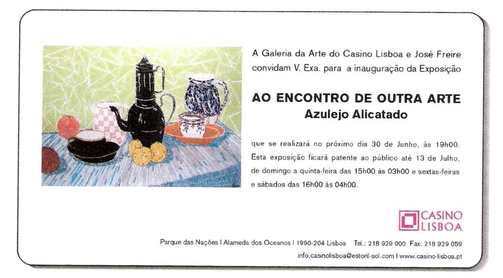 Convite Exposição do Casino de Lisboa