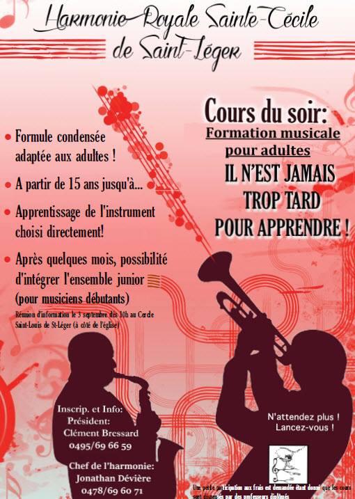Harmonie Saint-Léger - Formation musicale pour adultes en cours du soir et orchestre pour musiciens débutants.