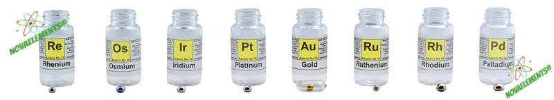 noble metals set, Os, Ir, Pd, Pt, Rh, Re, Au, Ru meta set, set of prue noble metals for element collection and display. Noble metal set for collection. Noble metals for investment.