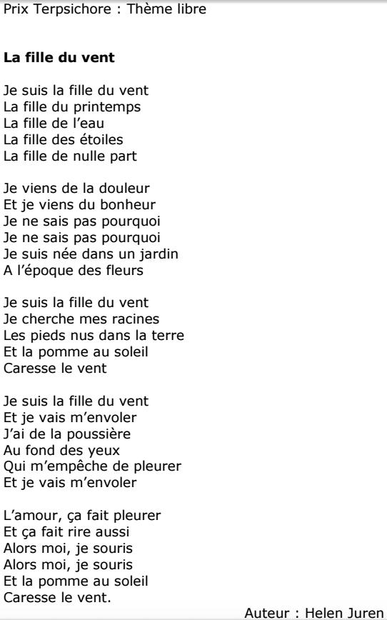 Publication Du Poème La Fille Du Vent Dhelen Juren Helen Juren