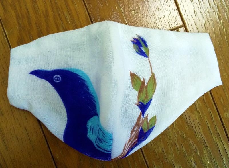 ガーゼてぬぐいマスク②素敵な鳥と花☆