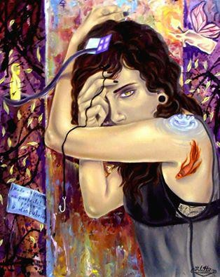 """Titre """"Passion Jacket"""" (2015) / 70 cm x 51 cm / Peinture à l'huile sur toile / Prix: 1900€"""