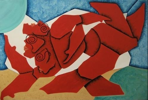 """Titre """"The Triple Header"""" (2012) / 122 cm x 61 cm / Peinture à l'huile sur toile / Prix: 6000€"""